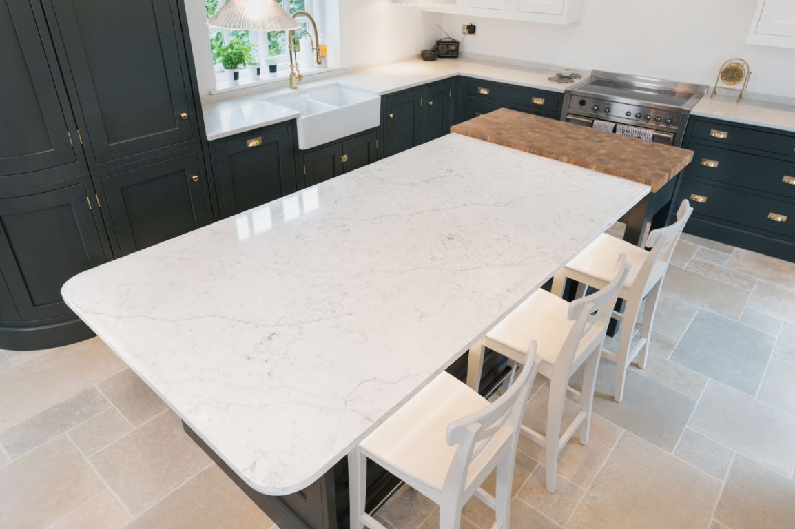 kitchen worktop example in marble effect quartz