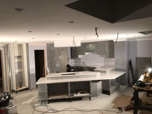 bianco stella white starlight quartz in futuristic kitchen