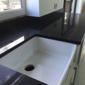 black quartz worktop belfast sink
