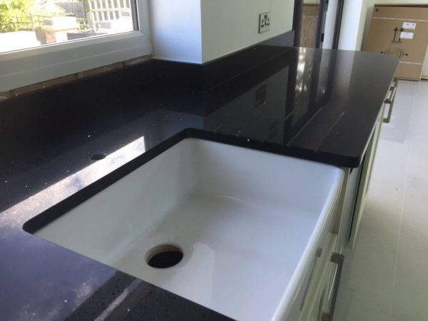 black quartz worktop belfast sink
