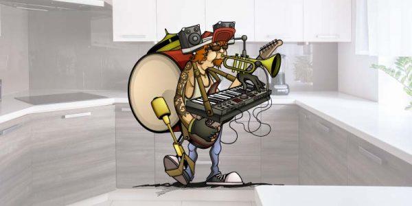 one man band showing kitchen worktops