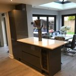 bar stools in customer kitchen