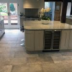 large kitchen island with granite top