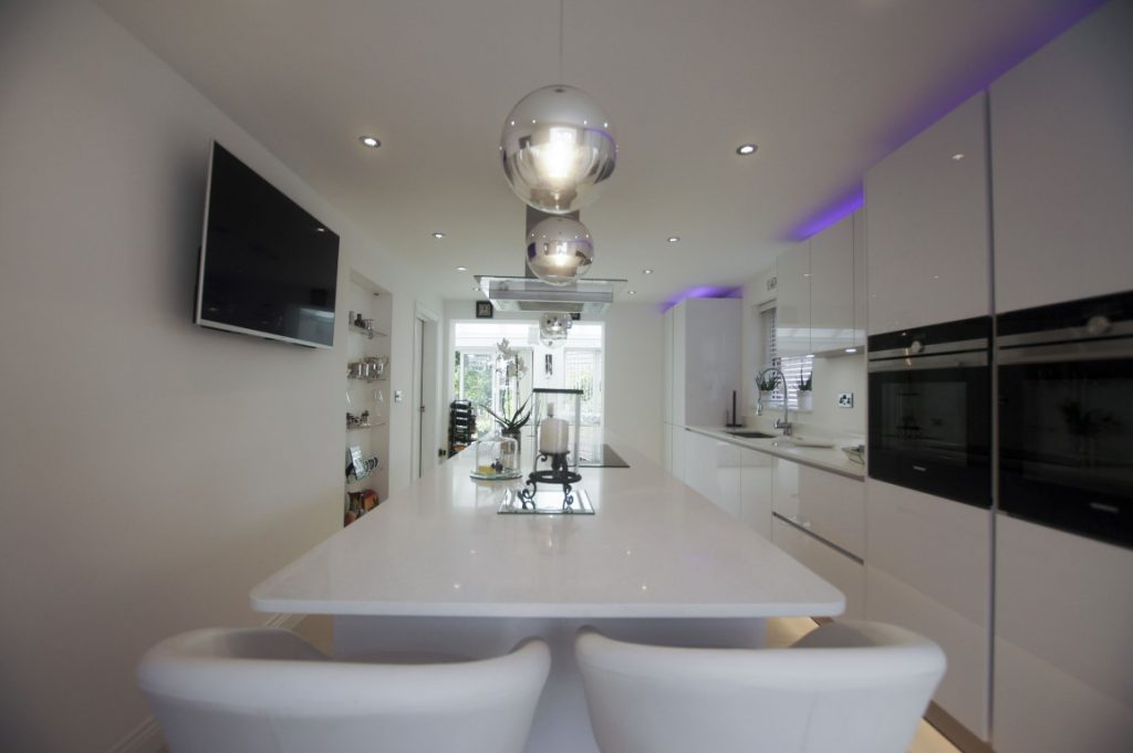 kitchen island with white quartz tops