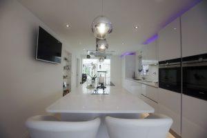 kitchen island with white quartz tops