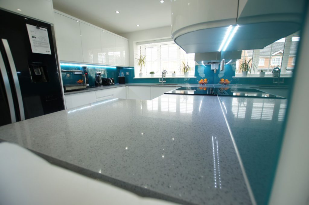 grigio medio stella quartz worktops in white kitchen