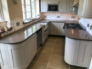 mocha quartz installed to mussel b and q kitchen in Nazeing