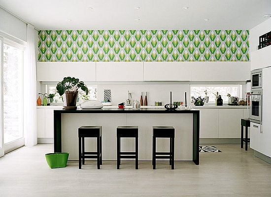 kitchen with green wallpaper