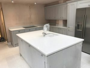 bianco de lusso white quartz worktops and island in ware kitchen