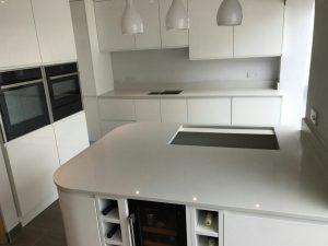 bianco de lusso quartz worktops in gloss white kitchen