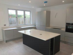 bianco minerale quartz worktops installed in large open plan kitchen