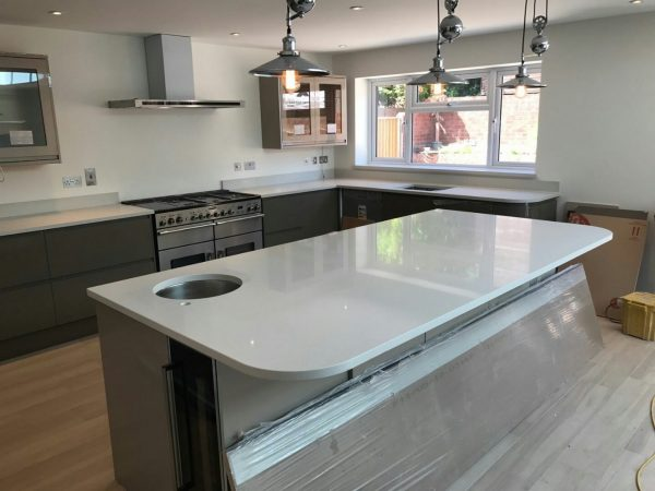 bianco de lusso white quartz in grey kitchen