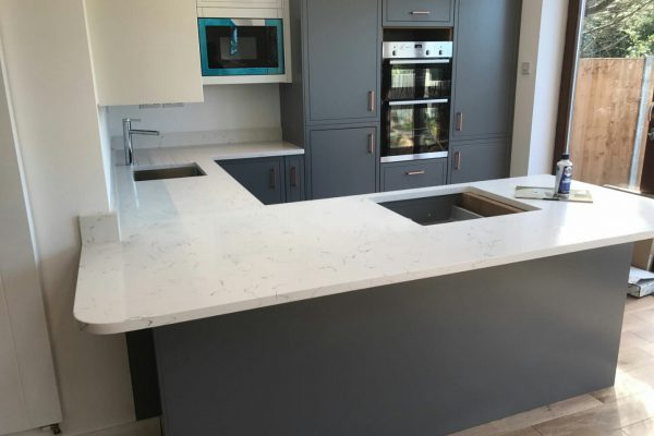 carrera white quartz worktops