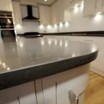 piatra slate carrera grey quartz in kitchen