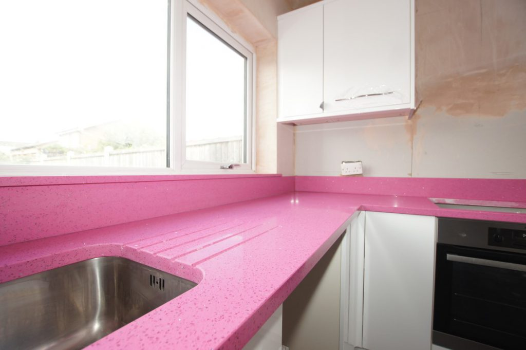 rosa stella pink starlight quartz worktops essex