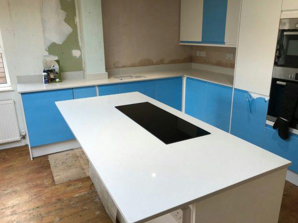 bianco de lusso quartz worktops in kitchen