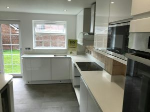 bianco de lusso quartz worktops with shark nose