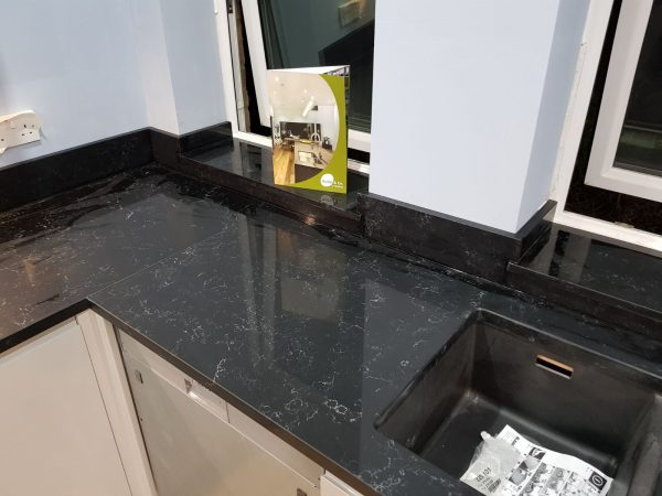 nero venata black marble quartz cambridge kitchen