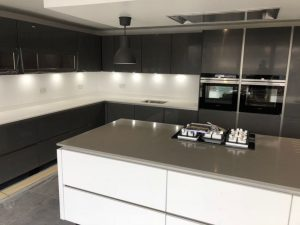 concreto seta and bianco puro quartz worktops rockandco