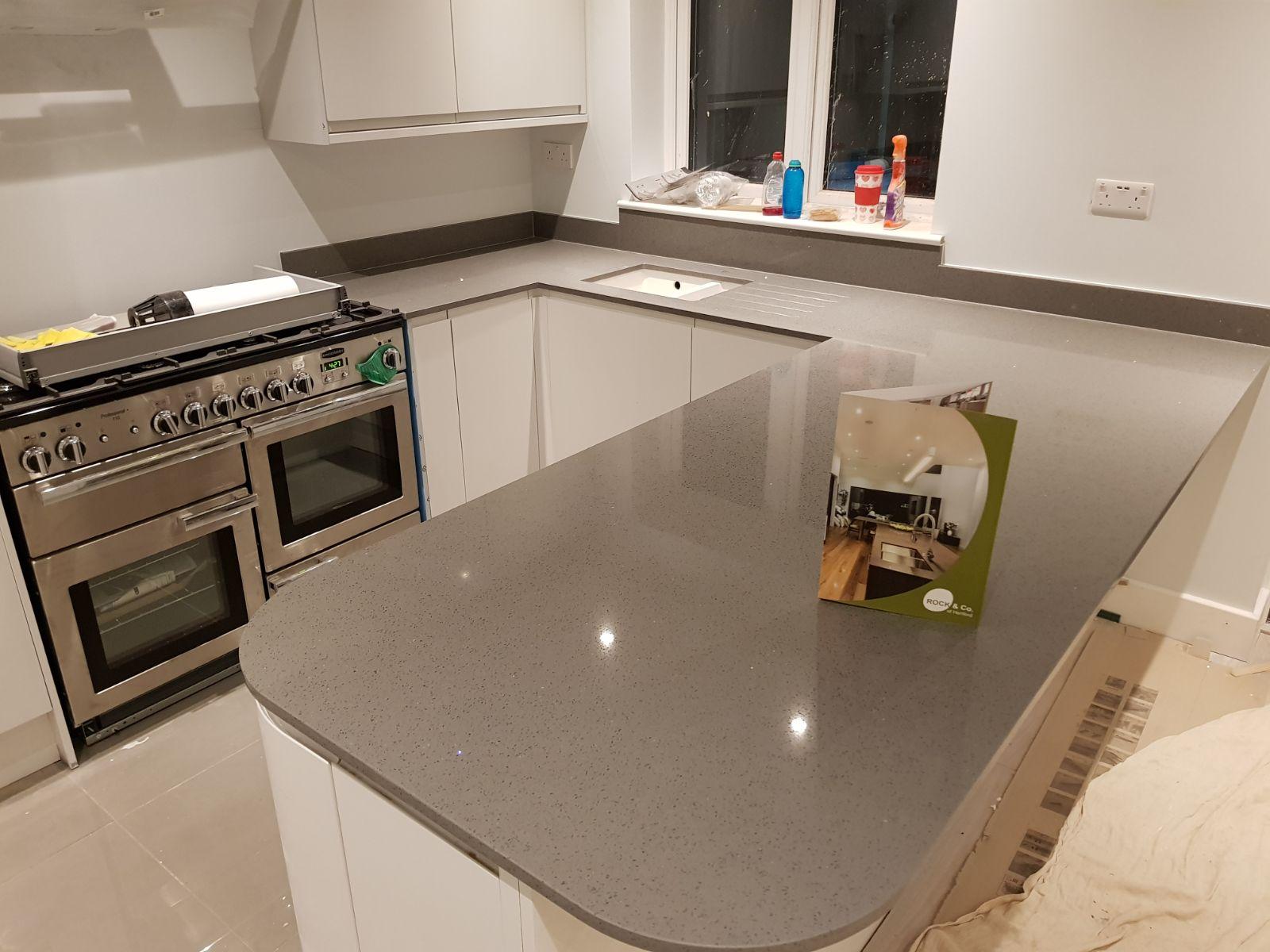 Granite Worktops Essex Part - 18: Grigio Medio Stella Quartz Kitchen Worktops