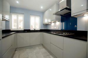 nero venata black marble quartz worktops in cambridge kitchen