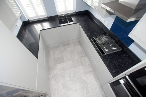 nero venata black marble quartz worktops in cambridge kitchen