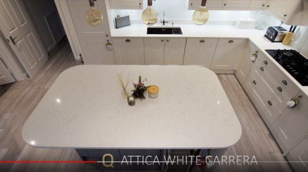 white marble effect quartz worktop examples