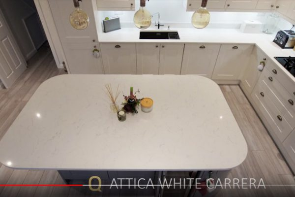white marble effect quartz worktop examples
