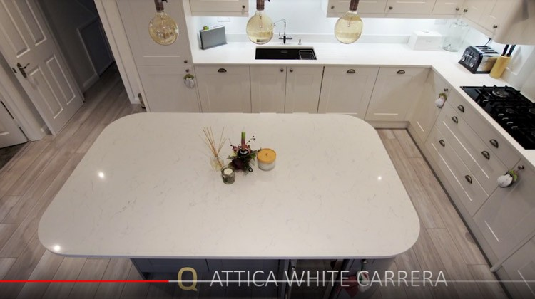 Examples of some white marble effect quartz worktops installed recently