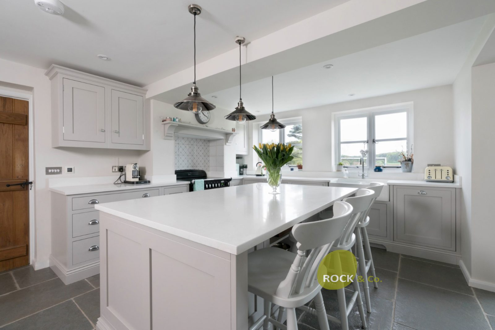 Kitchen of the week… Located in Albury, Herts, showcasing the Bianco Marmo Suprema